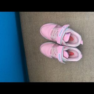 Cute pink sketchers have some wear and tear